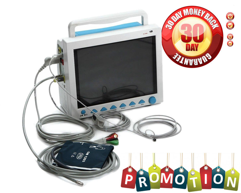 US Seller, FDA ICU Patient Monitor ECG NIBP SPO2 RESP TEMP PR Vital Sign Monitor CMS8000 6 PARA abpm50 ce fda approved 24 hours patient monitor ambulatory automatic blood pressure nibp holter with usb cable