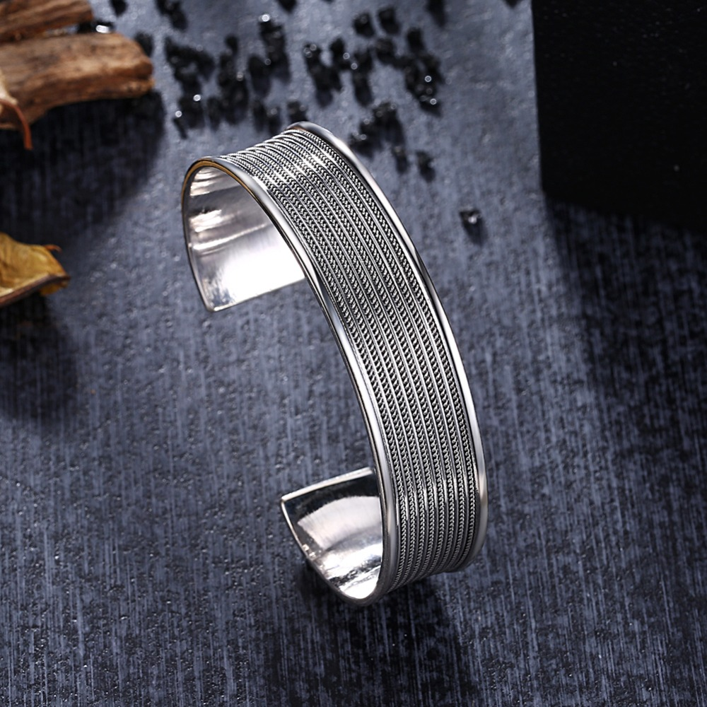 GOMAYA 2018 New Handmade S925 Sterling Silver Female Open Ended Personality Bangle Thai Bracelets for Elegant Women Gift in Bracelets Bangles from Jewelry Accessories