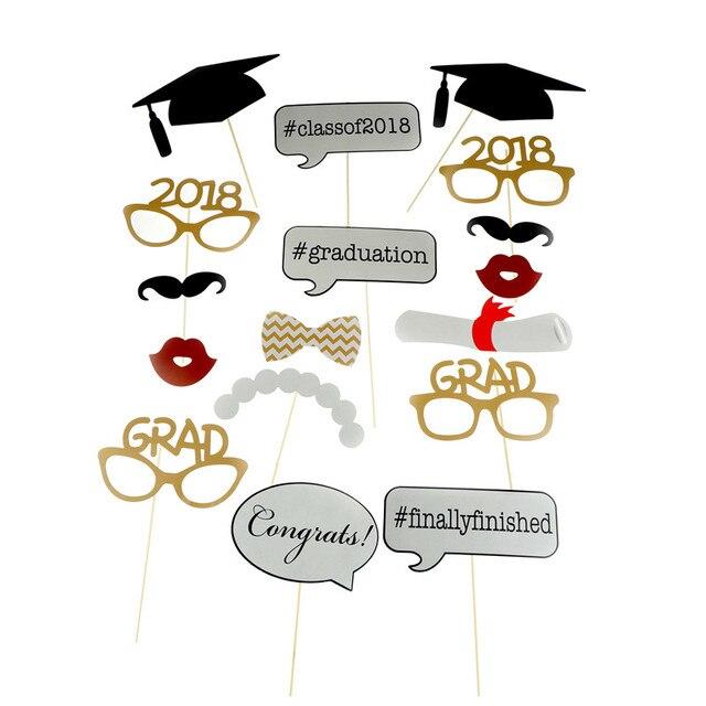 high quality 17pcs graduation photo booth props 2018 diy graduation