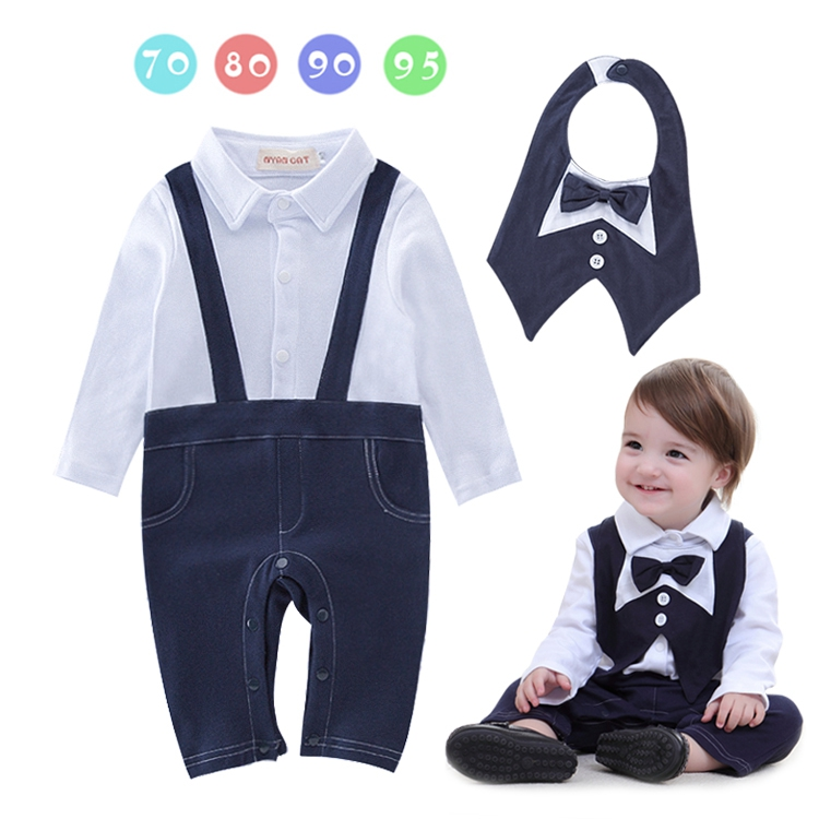 DHL EMS Free shipping Toddlers Baby boys Kids One Piece Romper + Bib overalls Bow Tie Gentleman Suit 4 pcs/lot 70-80-90-95