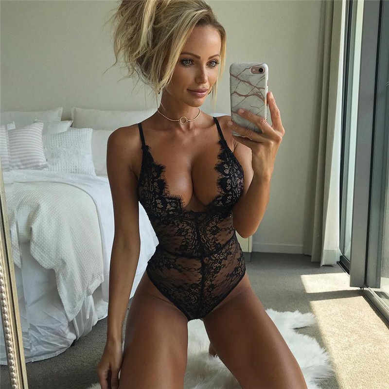 76f16507f8 Detail Feedback Questions about Sexy Erotic Hot Women Deep V Neck Nightdress  Lace Black Thong Bodycon Night Gown Lingerie Intimates on Aliexpress.com ...