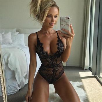 dc7dbd6a75 Sexy erótico mujer cuello en V profundo camisón de encaje negro Tanga  Bodycon vestido de noche ropa interior