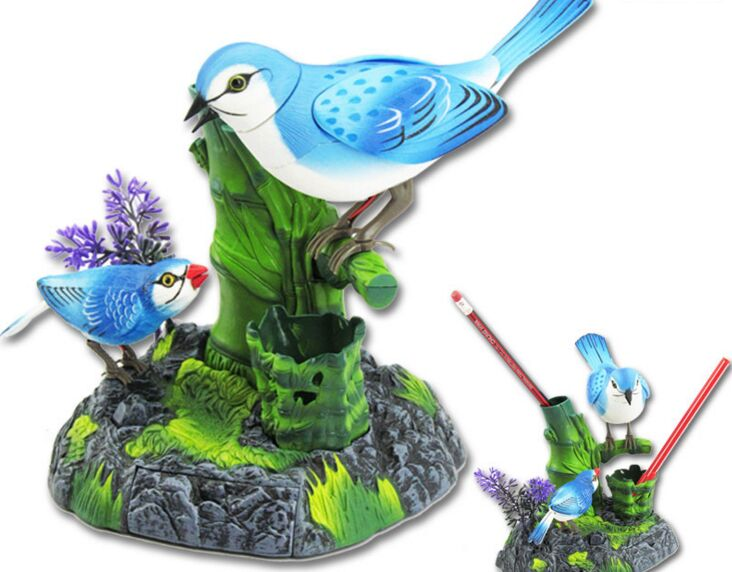 Batteries Operated Blue Birds Ornament Sound Control Moving Birdcall Bird About 14x18cm Home Decoration Creative