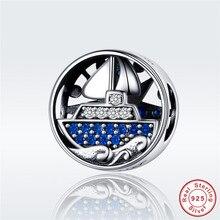 fit Pandora Bracelet Original 925 Sterling Silver Blue CZ Sailing Trip Boat Beads S925 Ocean Anchor Pirate Ship Charms Pendant s925 anchor pendant silver pendant chain retro punk pirate men