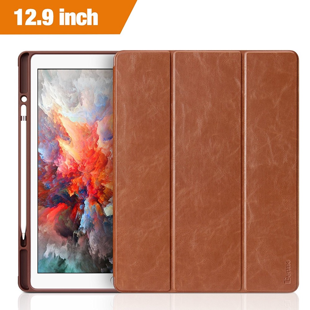 For iPad Pro 12.9 Case Leather Ultra Slim Flip Folio Smart Cover With Pencil Holder For Apple iPad 12.9 Case 2017 2015 Version nice soft silicone back magnetic smart pu leather case for apple 2017 ipad air 1 cover new slim thin flip tpu protective case