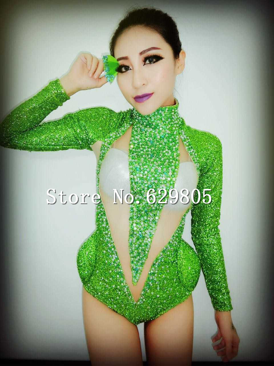 Sexy Shining Green Sequins Long Sleeves Bodysuit Outfit Leotard Female Singer DJ DS Dance Stage Bright Costume Party Dress