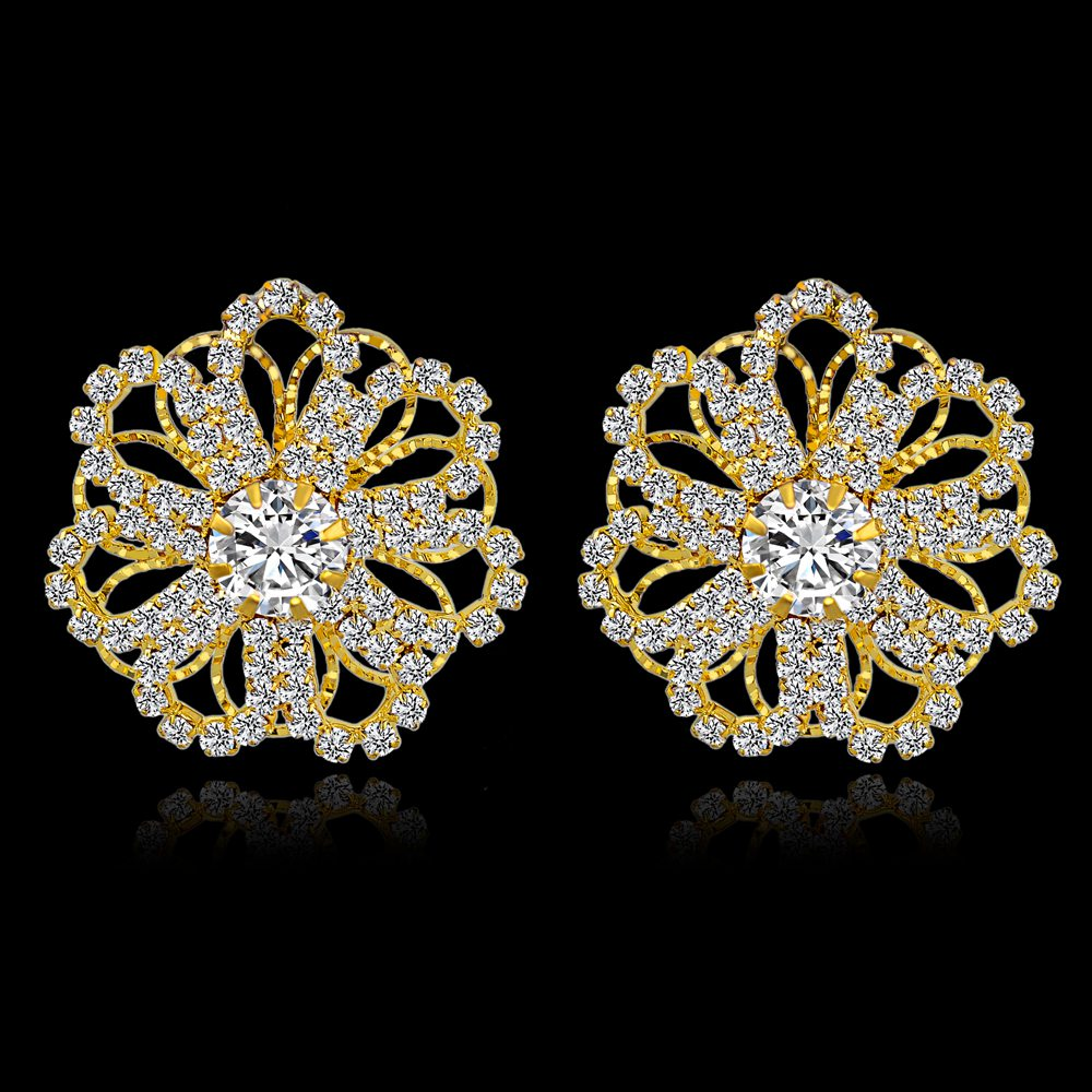 Szelam Low Luxury Crystal Stud Earrings For Women Fashion Gold ...