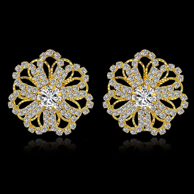 Szelam Low Luxury Crystal Stud Earrings For Women Fashion Gold Designs Vintage Wedding Flower