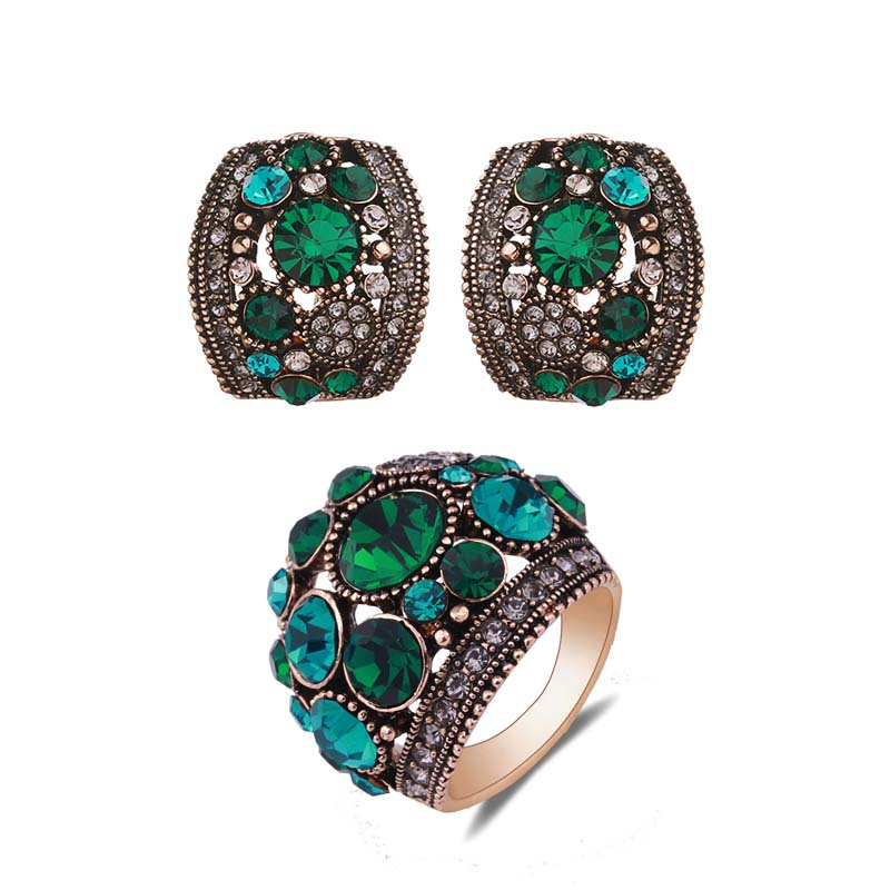 Sellsets Jewellery Antique Gold Silver Color Vintage Jewelry Sets Green Crystal Stud Earrings And Ring Set
