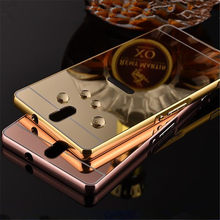 Gold Plated Metal Aluminum Bumper + Plastic Mirror Back Case For Sony Xperia C5 Ultra Dual E5553 E5533 Hybrid Phone Cover Cases(China)