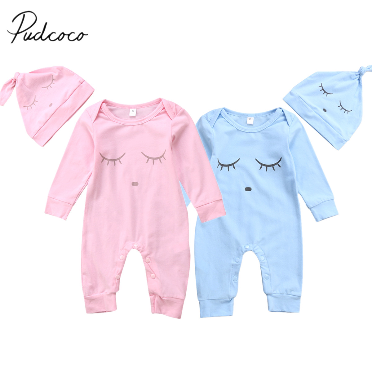 2017 Brand New Infant Toddler Baby Boy Girl Sleep Eyes Romper Jumpsuit Long Sleeve Playsuit Hat 2pcs Clothes Outfit Cute Set newborn infant baby boy girl clothing cute hooded clothes romper long sleeve striped jumpsuit baby boys outfit