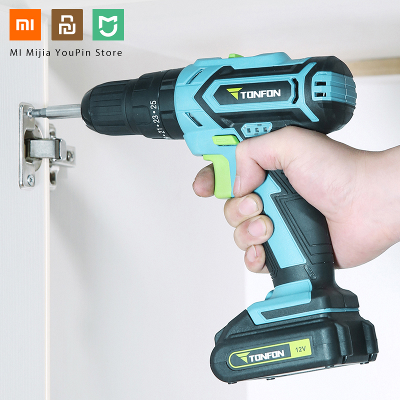 Xiaomi Mijia Tonfon Wireless Electric Cordless Drill Impact Power Driver 12V 1200mAh Battery 2-Speed EU Adapter фото