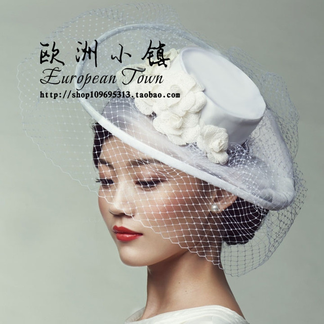 9fc58912658fc Vintage Style White Flower Semitransparent Plastic Mesh Royal Court Bride  Small Top Hat For White Wedding