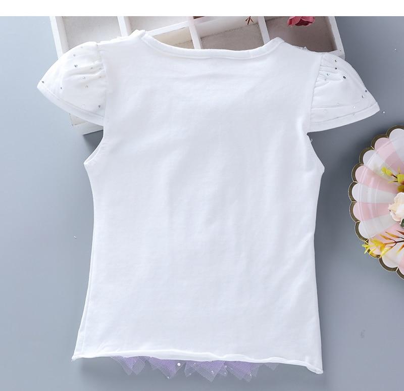 Girls New Summer Princess T-Shirt Elsa Childen Cotton Tees Lace T Shirt 3D Diamond Appliques Kids Birthday Party Top Clothing 12