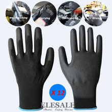 12-Pairs Work-Gloves Builder-Driver Gardening-Mechanic Nylon Safety with Pu-Coated