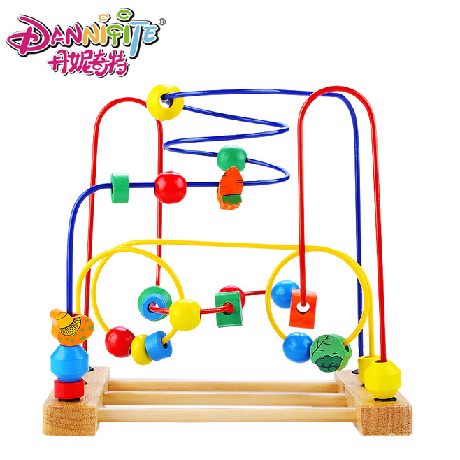 DANNIQITE Educational wooden toy around beads the Vegetabels move round the pearl font b calculating b