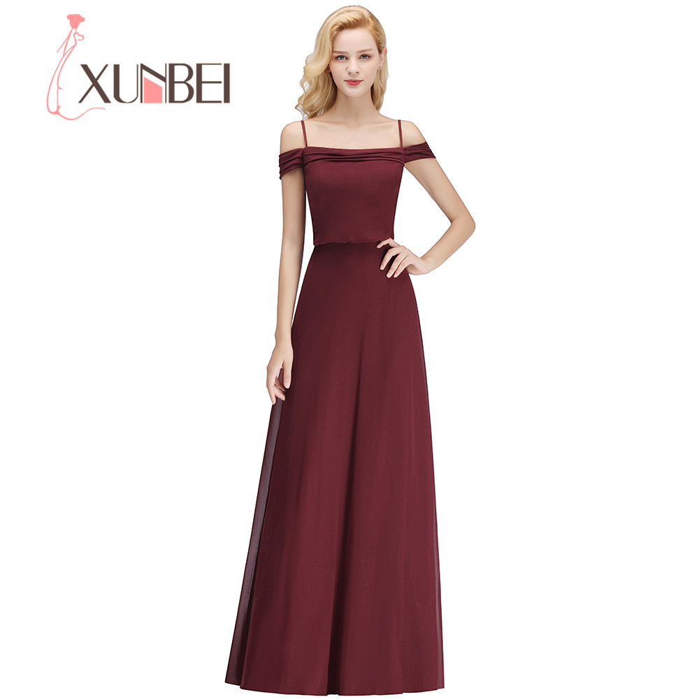 Xunbei Boat Neck Off the Shoulder Solid   Bridesmaid     Dress   Elegant Chiffon Women Wedding Party   Dress   Spaghetti Strap Wedding Gowns