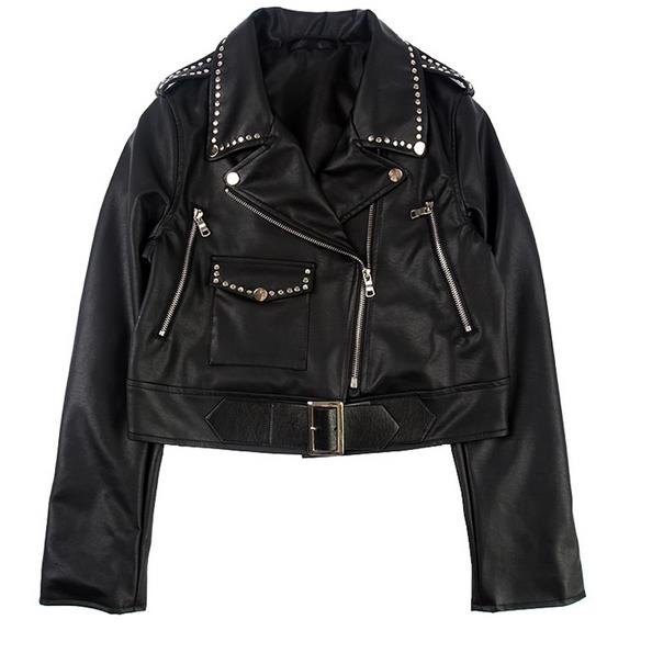 2018 Rivet PU   leather   motorcycle Slim Women Jacket