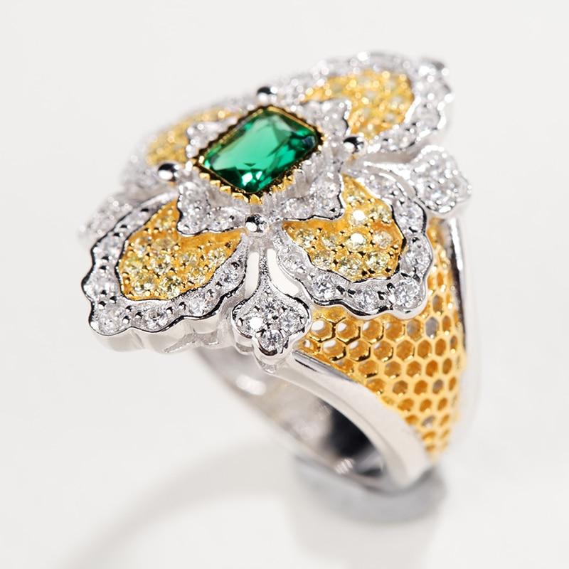 CMajor bijoux en argent massif Vintage palais croix anneaux floraux avec bague en pierre verte pour les femmes