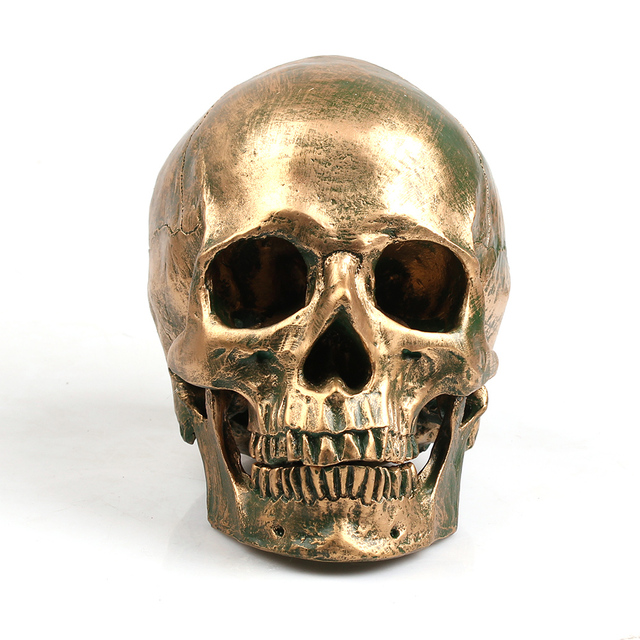 P-Flame Bronze Human Skull Resin Crafts Life Size 1:1 Model Modern Home Decor Imitation Metal Decorative Skull 1