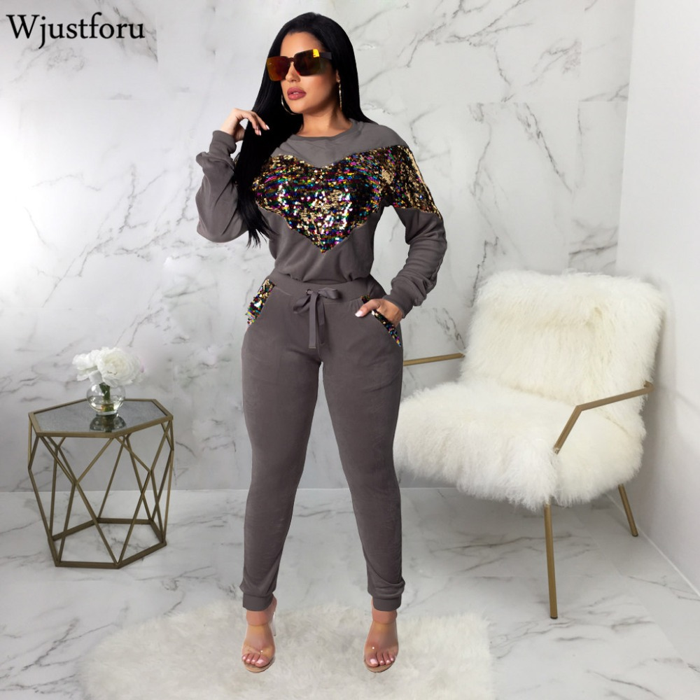 Wjustforu Winter Sequin Rompers Womens Jumpsuit Long Sleeve Elegant Velvet 2 Piece Set Warm Fur Casual Bodysuit Elegant Jumpsuit
