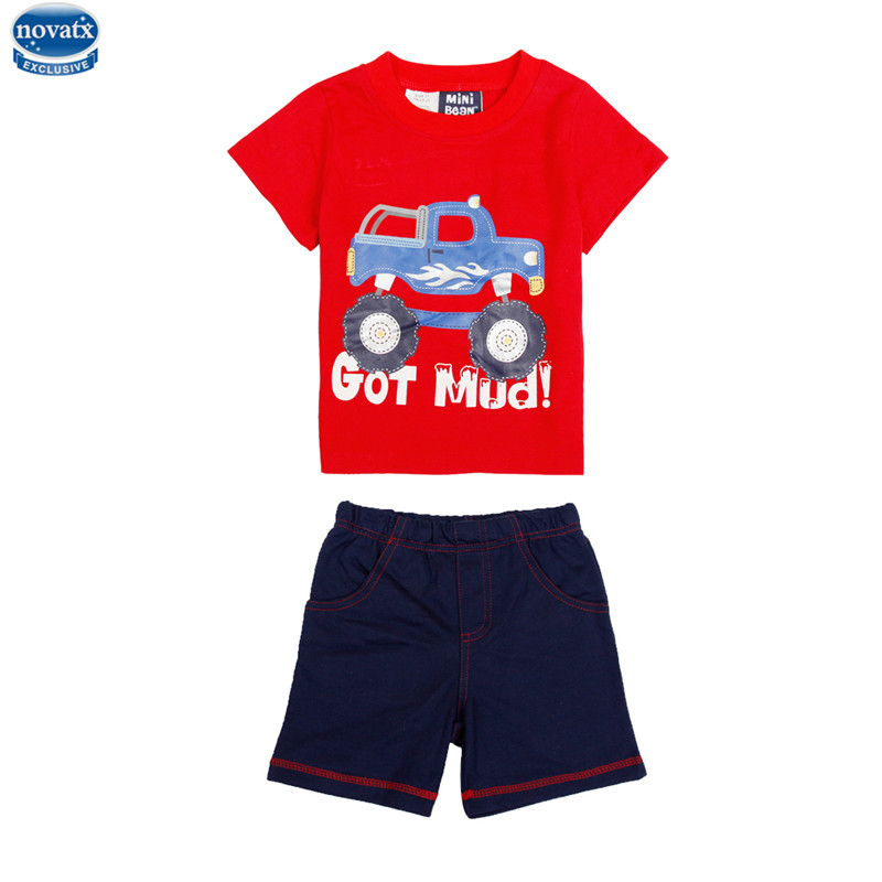 novatx WG0015 fashion designs boys clotheing sets kids wear carton picture boys cloth t-shirt and shorts boys casual suits hot