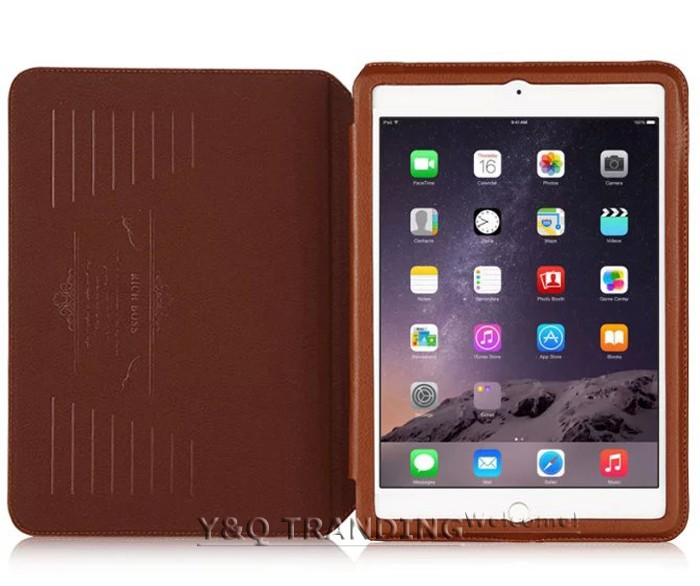 Ultrathin Cowhide Genuine Leather Case for Apple iPad Real Leather Business Stand Smart Cover for iPad  (12)