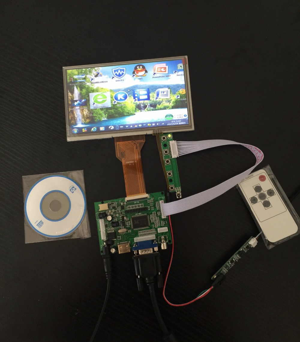 HDMI VGA 2AV 50PIN TTL LVDS Controller Board with 7 TFT LCD panel LCD Module touch panel for Raspberry PI LCD AT070TN94