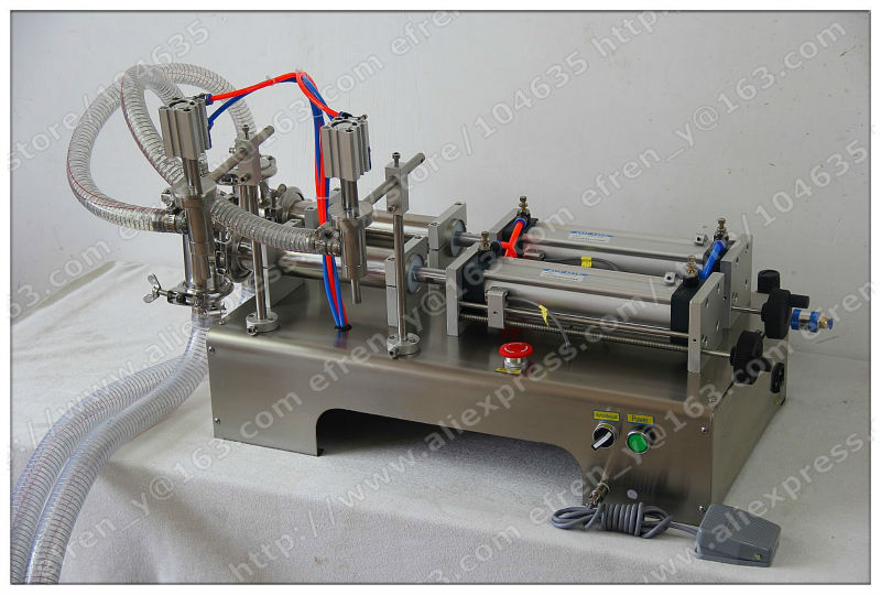 50-500ML Semi-Automatic Double Head Pneumatic Liquid Shampoo Filling Machine Paste filling machine auto filler,pneumatic filler  double hopper stainless steel semi automatic food chemical particle filling machine