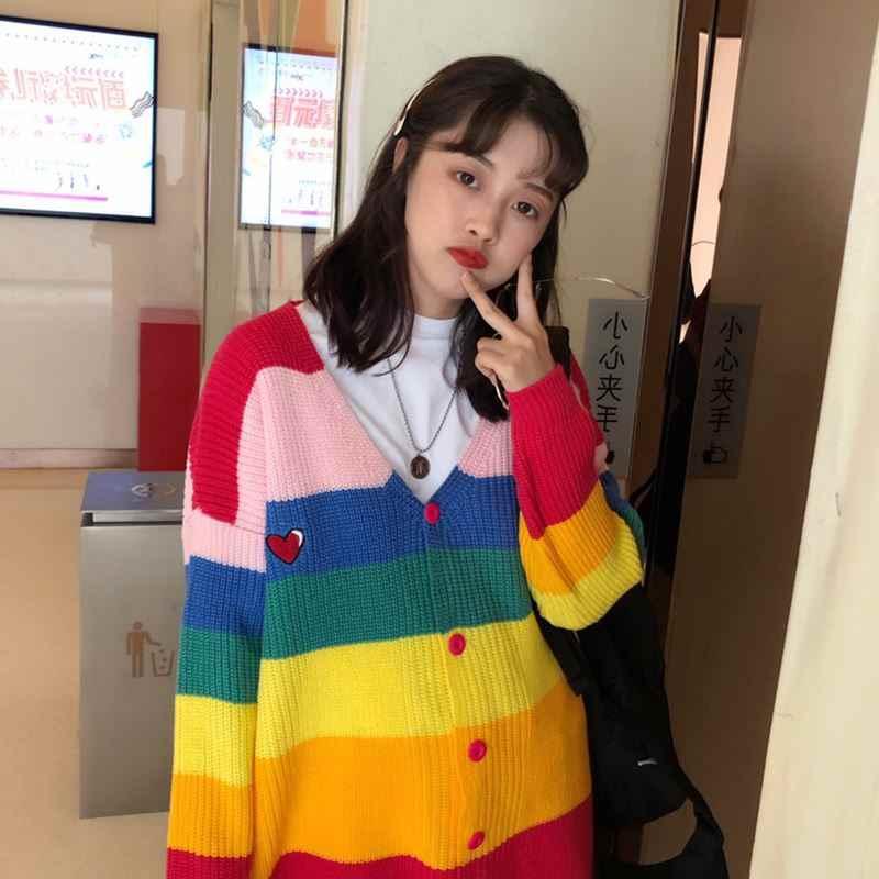 2019 весенний кардиган в стиле Харадзюку с радугой, женские свободные свитера больших размеров с вышитыми буквами, разноцветный кардиган в полоску