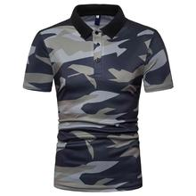 купить POLO Collar Social Shirt Men Casual Camouflage Men Polo Shirt Short-sleeved Summer Tops Tees Fashion Style Slim fit New дешево