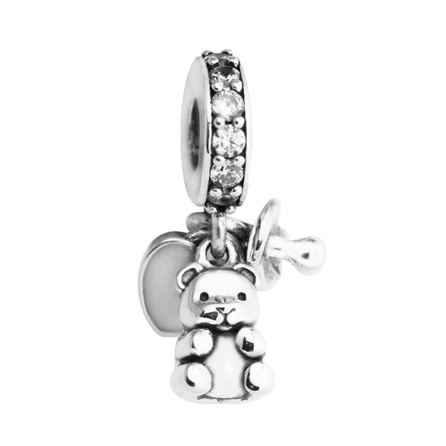 f975227e35ac3 Authentic 100% 925 Sterling Silver Baby Treasures Clear CZ Beads Fits  Pandora Bracelet Charm For Women DIY Jewelry Accessories