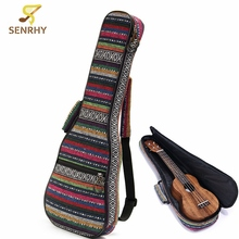 Soft Pad Cotton Folk Style Portable Guitar Hand Bag Case Cover With Double Shoulder For 21 inch Ukulele Small Guitar Accessories