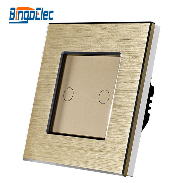 2gang 1way touch electrical switch, golden aluminum and glass panel switch,EU/UK standard, AC110-240V,CE marks,Hot Sale 1gang 1way touch switch with remote function 433 92mhz silver aluminum and black glass panel remote switch eu uk hot sale