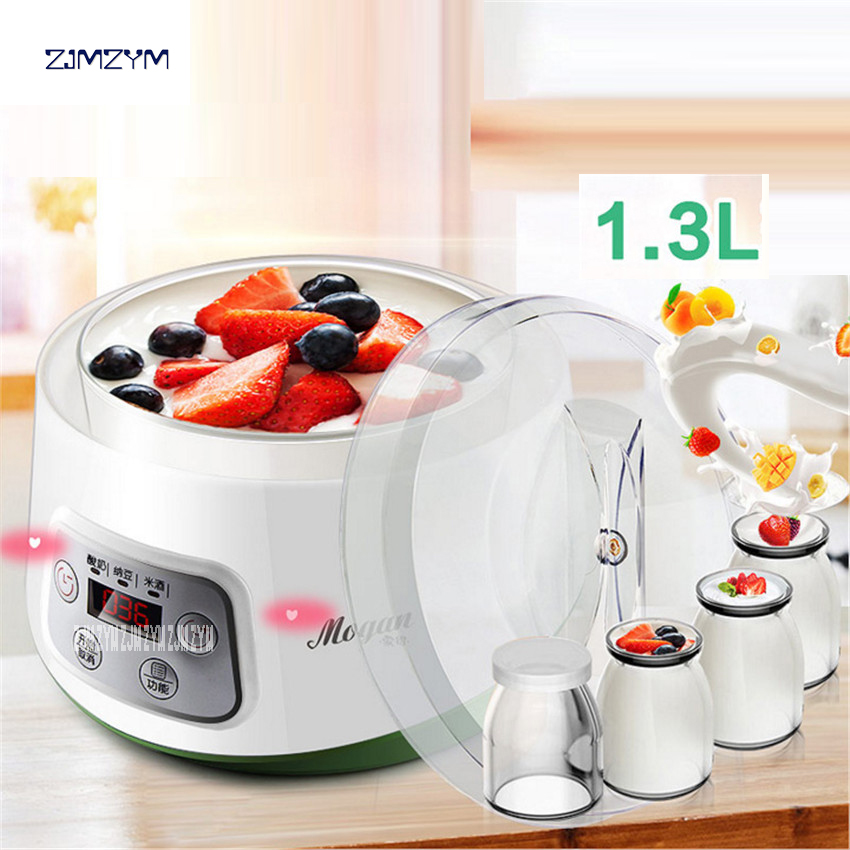 ZCW-S03 Fully Automatic Yogurt Makers Household Multifunctional White Natto Rice Wine Machine with Four Glass Liner Sub-cup 1.3L bear full automatic yogurt makers household timing ceramics sub cup liner natto rice wine yogurt machine diy tools 220ac voltage