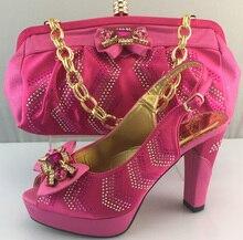 Hohe Qualität Luxus Schuhe Und Taschen Für Hochzeit Und Partei afrikanische Pumpen Italienische Schuhe Und Passende Tasche Mit Steinen ME3308