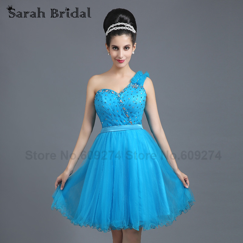 One Shoulder Graduation Dresses Short Prom Dresses Sky Blue Crystal Beads Sexy Cocktail Homecoming Party Gowns 2016 Cheap SD261