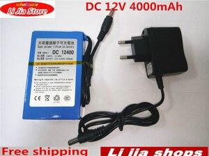 DC 12 V 4000 mAh Li-lon DC12V Super Rechargeable Battery + AC Charger + explosion-proof switch US/EU Plug