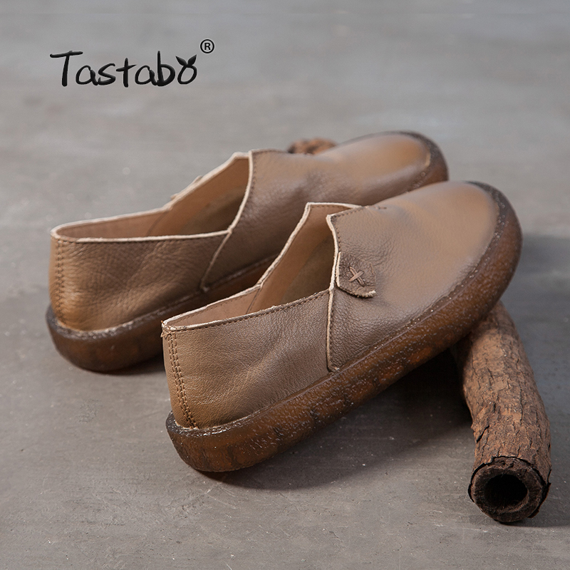 Tastabo 2018 Loafers Casual Flat Shoe Pregnant Women Shoe Female Women Flats Hand-Sewing Shoes genuine leather flats for ladies
