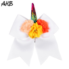 AHB 7 Sequin Unicorn Cheer Bows Cheerleading Hair for Girls Chiffon Flowers Decorated Bowknot Elastic Band Headwear