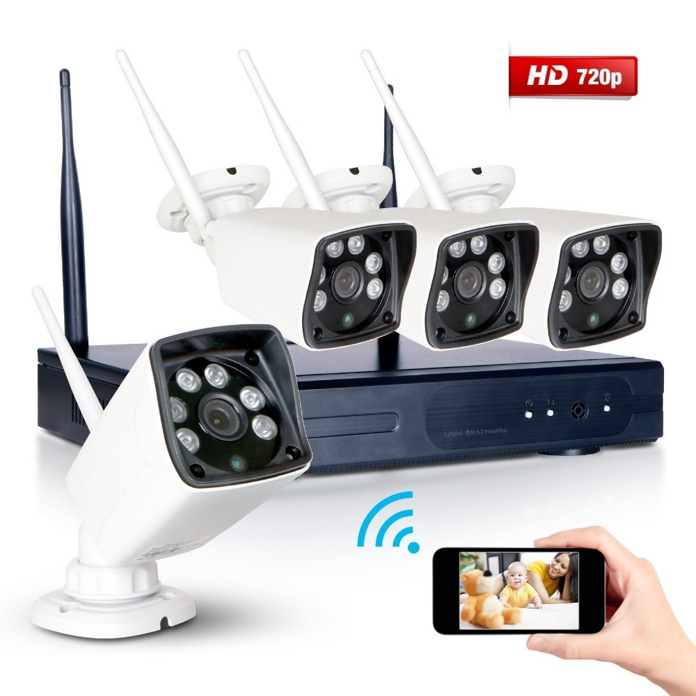 4CH NVR CCTV Surveillance Wifi System with 4x720P HD NightVision Outdoor IP Camera font b Smartphone