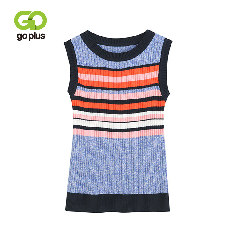 GOPLUS 2019 Spring Summer Women   Tank     Tops   Striped O-neck Knitted   Tops   Sleeveless Slim   Tank   Tees Sweet Camisa Feminina C7811