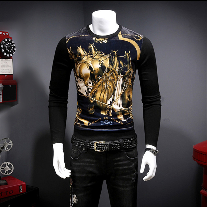 Sweater Velvet Pattern Autumn Luxury Print 3d Pleuche Patchwork Horse-Group Creative