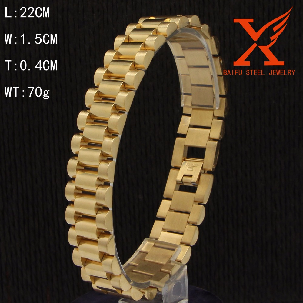 MEN`S JEWELRY STAINLESS STEEL GOLD WRISTBAND BRACELET(8.5x 15mm)70g ...