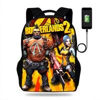 Game Print borderlands 2 Backpack SchoolBags for girls boys teenager orthopedic school bag packbags mochila Usb Charge bookBag