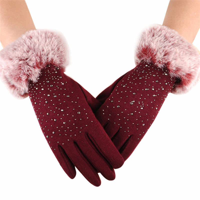 tactical gloves winter women fashion 1 Pair Men Touch creen Warm Full Finger With Diamond Writ Mitten Windproofmar 14