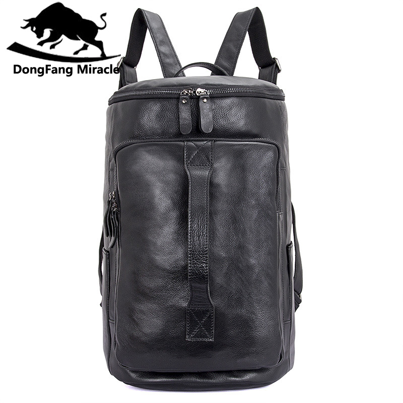 DongFang Miracle High Quality Top Layer Leather Classic Men's Travel Bags Large Capacity male  Backpack Bucket Bag Laptop Bag naillook miracle top 30671 цвет 30671