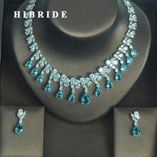 HIBRIDE Conjunto de collar y pendientes de Zircoia cúbica AAA para mujer, conjunto de joyería para fiesta, color azul claro europeo, N 333