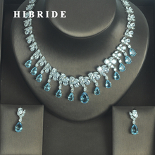 HIBRIDE Fashion European Light Blue Water Drop Shape AAA Cubic Zircoia Earring Necklace Sets Women Jewelry Sets Party Show N 333