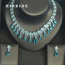 HIBRIDE Fashion European Light Blue Water Drop Shape AAA Cubic Zircoia Earring Necklace Sets Women Jewelry Sets Party Show N 333